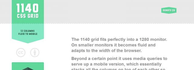 The 1140 css网格响应式框架