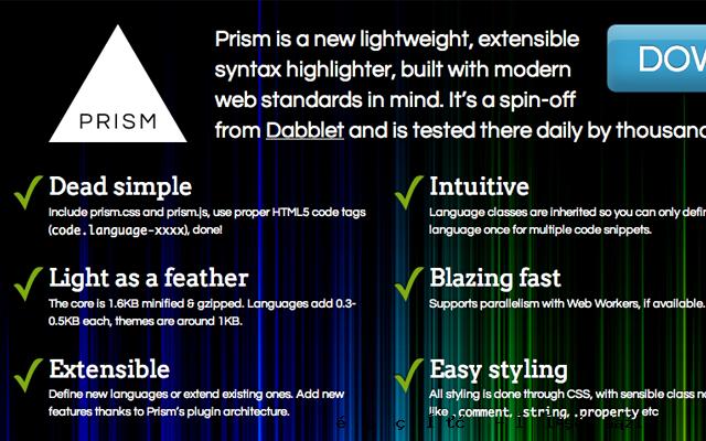 Prism.js的JavaScript开源的代码库